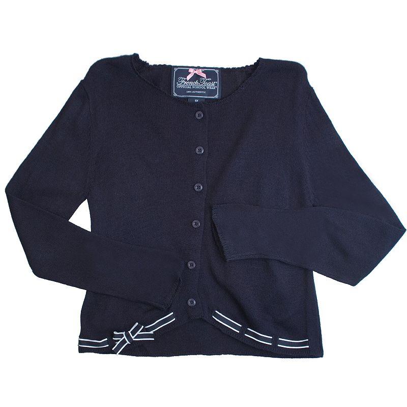 French Toast School Uniform Striped Ribbon Cardigan - Girls 4-6x