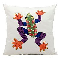 Mina Victory Embroidered Frog Outdoor Throw Pillow