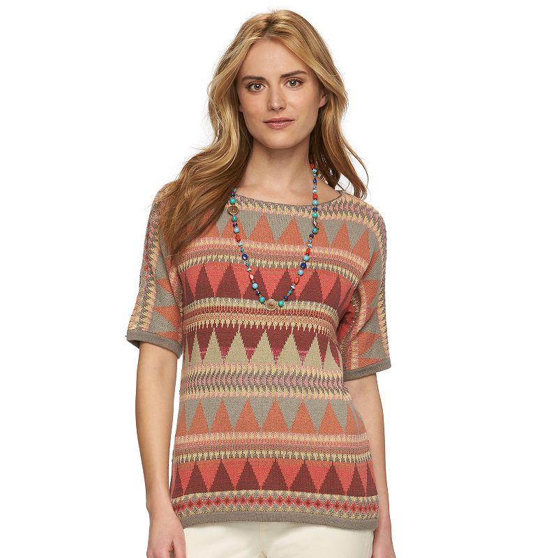 Petite Chaps Tribal Crewneck Sweater