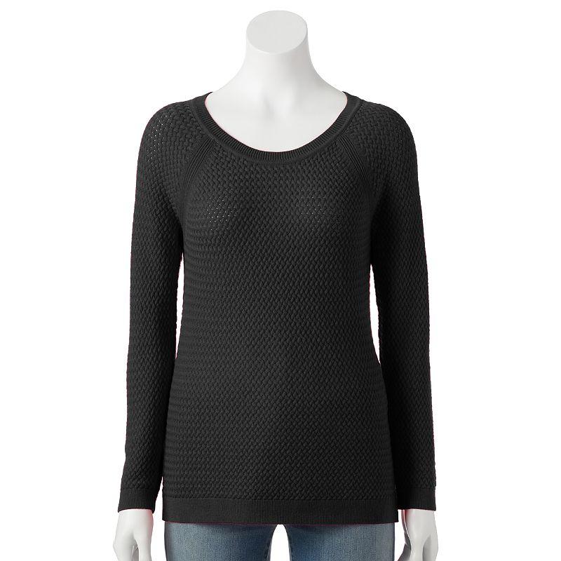 Women's SONOMA Goods for Life™ Basket-Weave Crewneck Sweater
