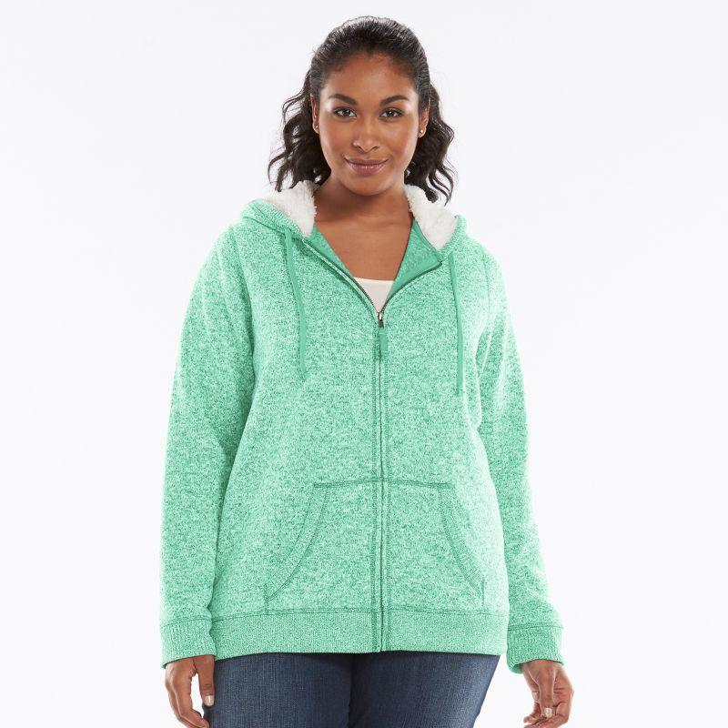 Plus Size SONOMA life + style Sherpa Hoodie, Women's, Size: 1X, Blue