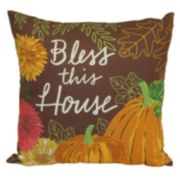Harvest ''Bless This House'' Outdoor Throw Pillow