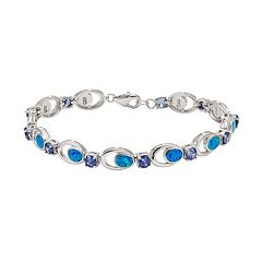 Lab-Created Blue Opal & Cubic Zirconia Sterling Silver Bracelet by