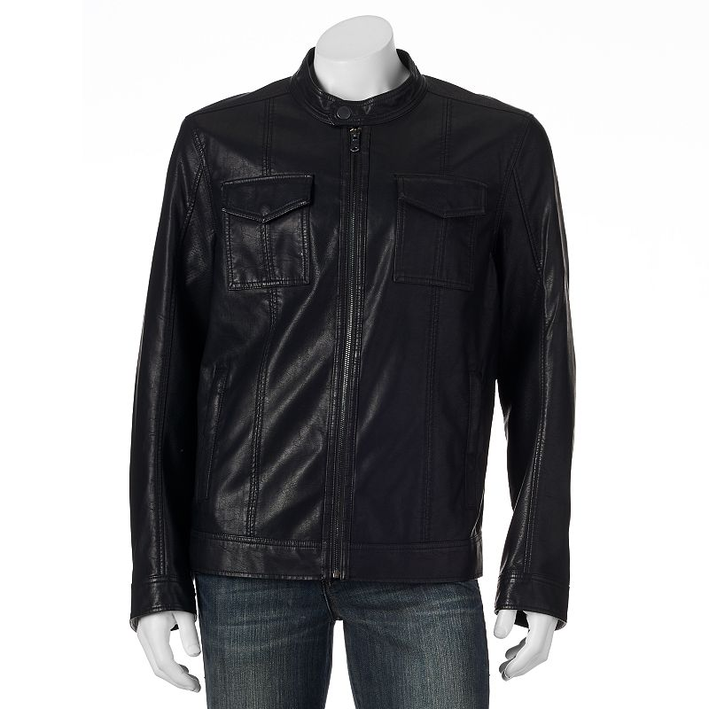 Big & Tall Marc Anthony Perforated Slim-Fit Faux-Leather Moto Jacket