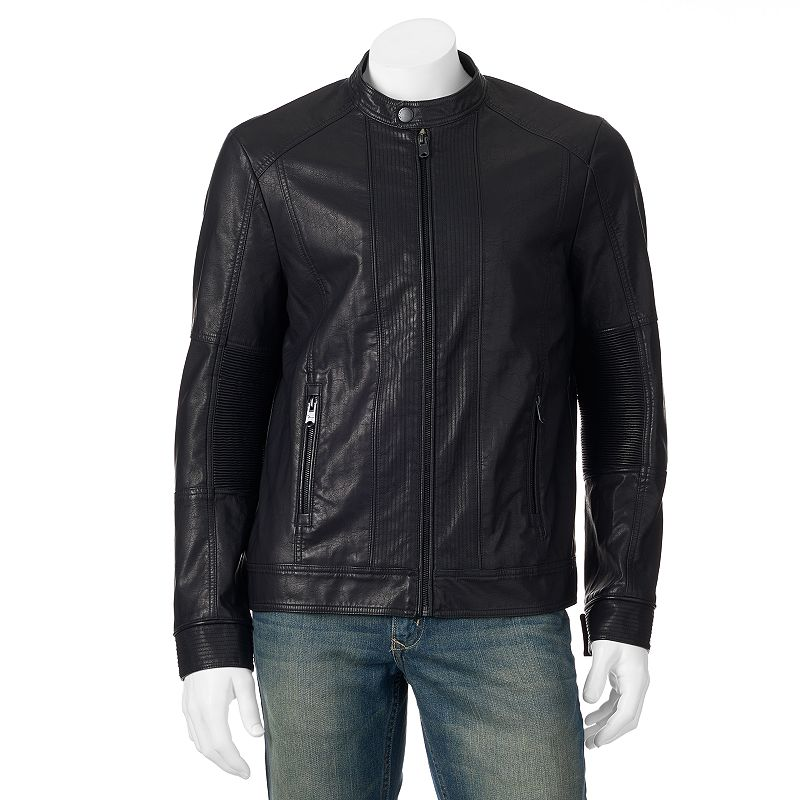 Big & Tall Marc Anthony Ribbed Slim-Fit Faux-Leather Moto Jacket