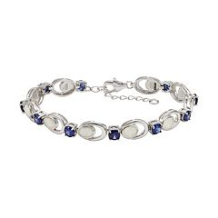 Lab-Created Opal & Cubic Zirconia Sterling Silver Bracelet by