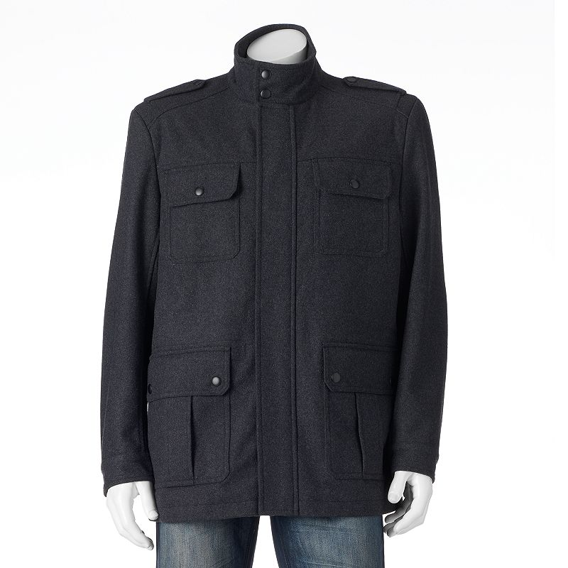 Big & Tall Apt. 9® Solid Modern-Fit Wool-Blend 4-Pocket Storm Coat