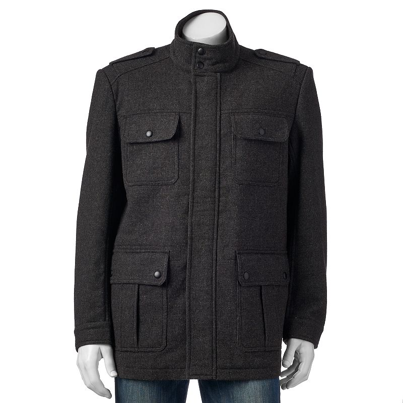 Big & Tall Apt. 9® Herringbone Modern-Fit Wool-Blend 4-Pocket Storm Coat