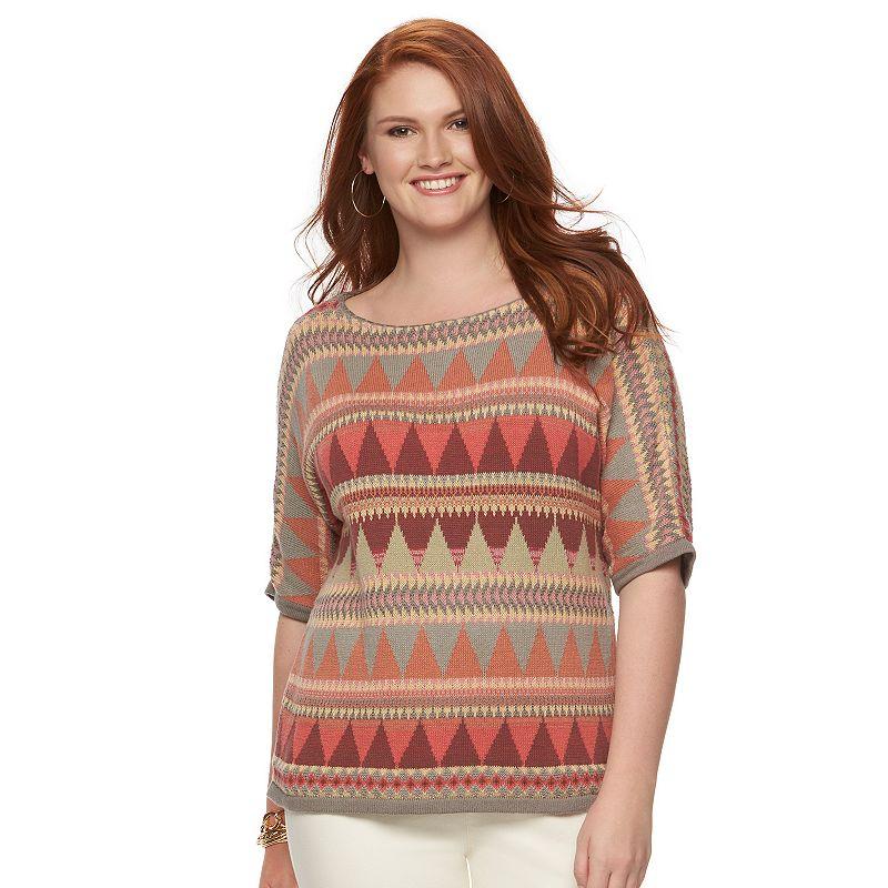 Plus Size Chaps Tribal Crewneck Sweater