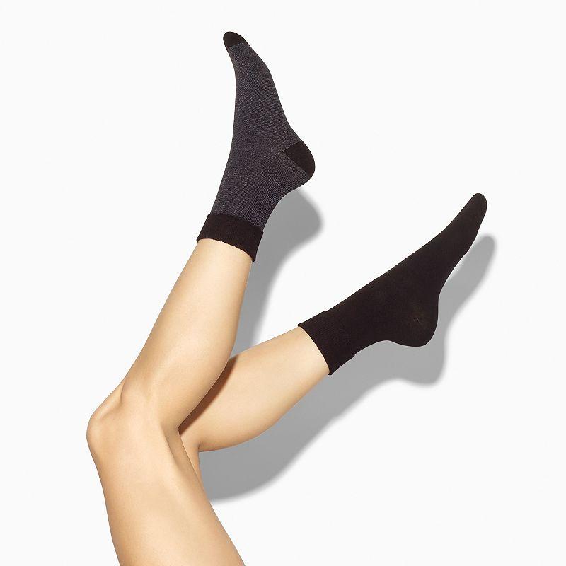 Simply Vera Vera Wang 2-pk. Striped Scallop Turn-Cuff Crew Socks - Women