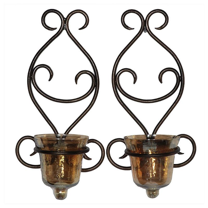 Scroll 2-piece Candle Wall Sconce Set