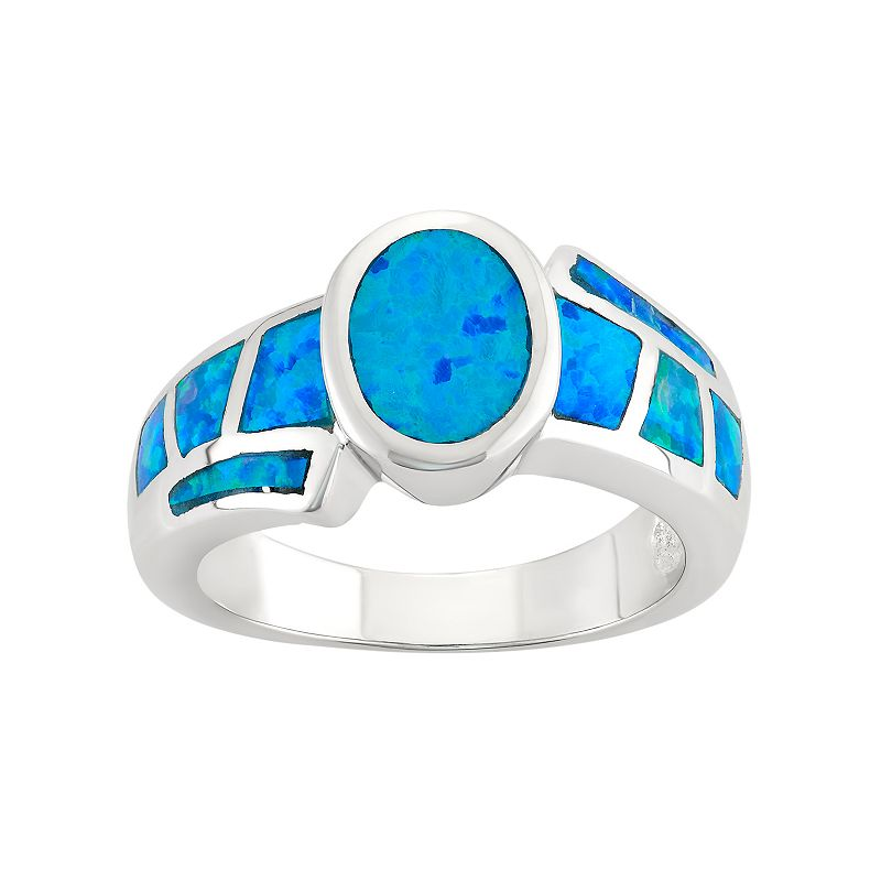 lab created blue opal sterling silver ring. Black Bedroom Furniture Sets. Home Design Ideas