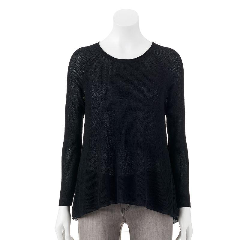 Women's Olivia Sky Chiffon-Back Flyaway Crewneck Sweater
