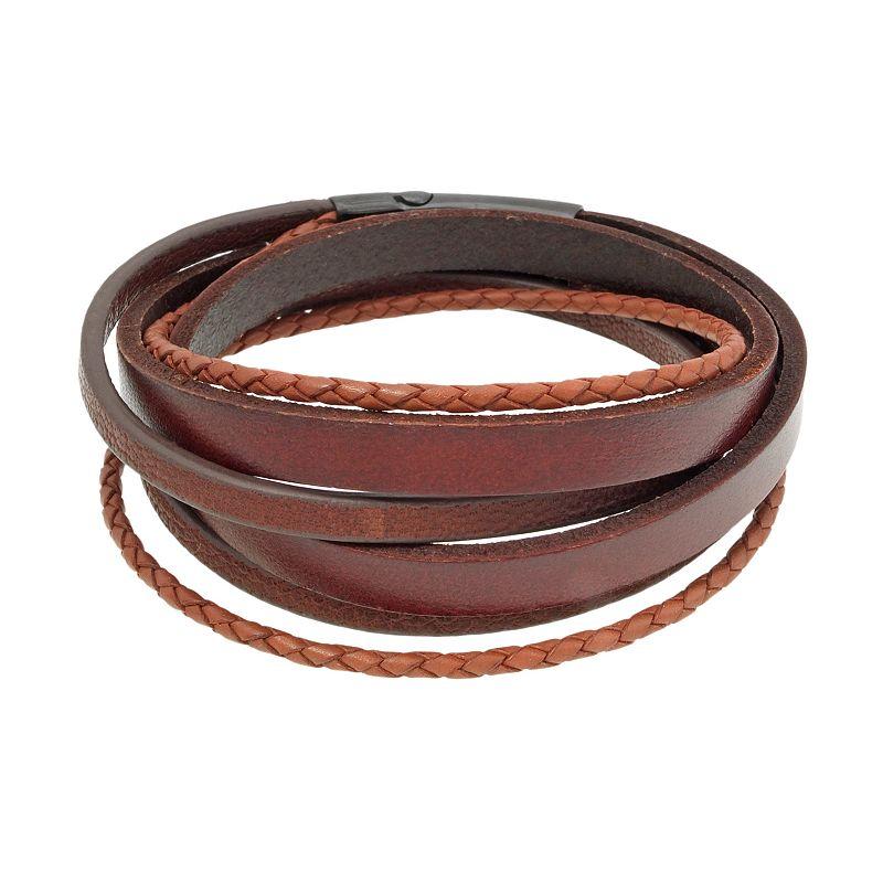 Black Ion-Plated Stainless Steel Wrap Bracelet - Men