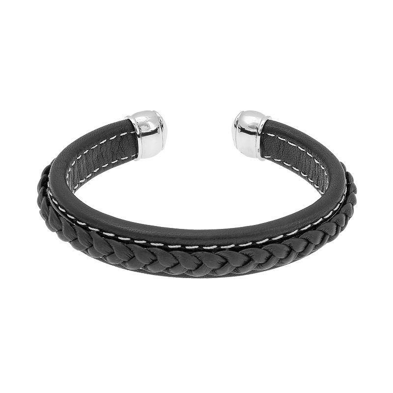 Stainless Steel Braided Cuff Bracelet - Men