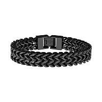 LYNX Black Ion-Plated Stainless Steel Wheat Chain Bracelet - Men
