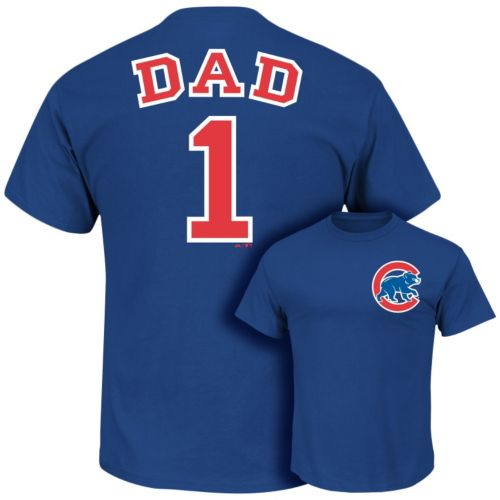 Men's Majestic Chicago Cubs #1 Dad Tee