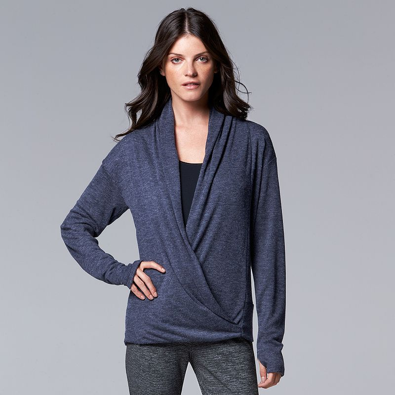 Simply Vera Vera Wang Simply Breathe Faux-Wrap Surplice Sweater - Women's