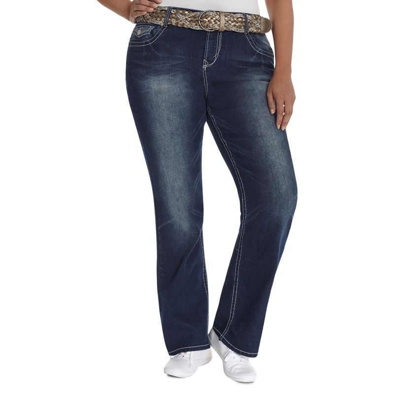 Wallflower Luscious Curvy Bootcut Jeans with Belt - Juniors' Plus, Size: 14 W (Blue)