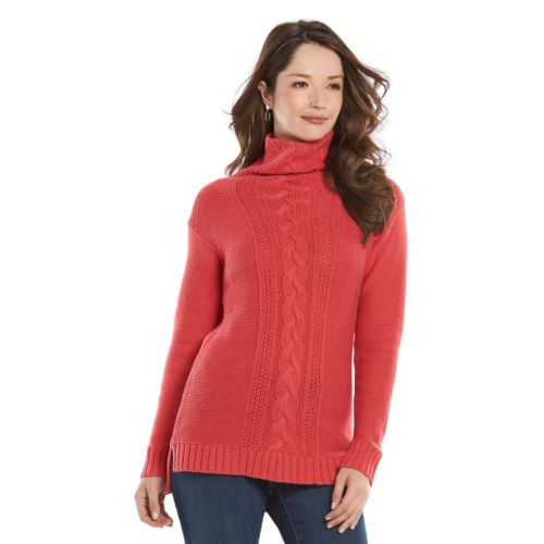 Women's Chaps Cable-Knit Tunic Sweater