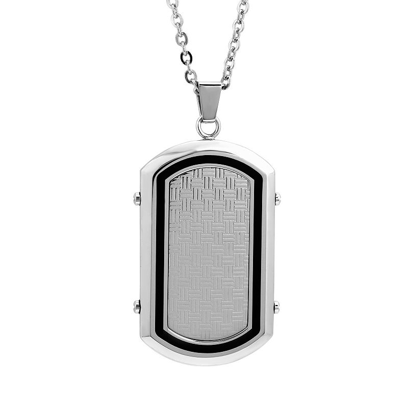 LYNX Stainless Steel & Resin Dog Tag Necklace - Men