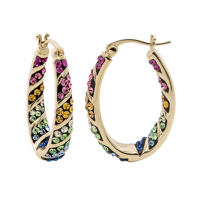 Crystal Radiance 18k Gold-Plated Rainbow Inside-Out Oval Hoop Earrings