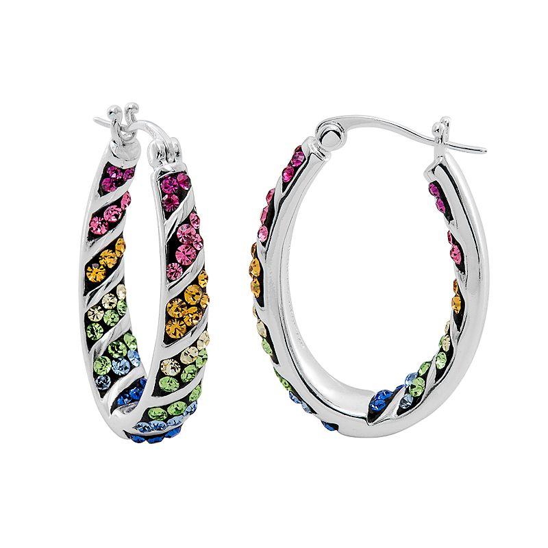 Crystal Radiance Rainbow Inside-Out Oval Hoop Earrings