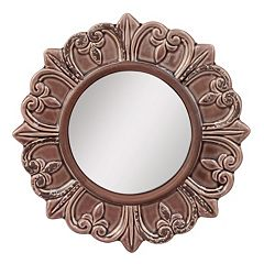 Stonebriar Collection Round Textured Wall Mirror by