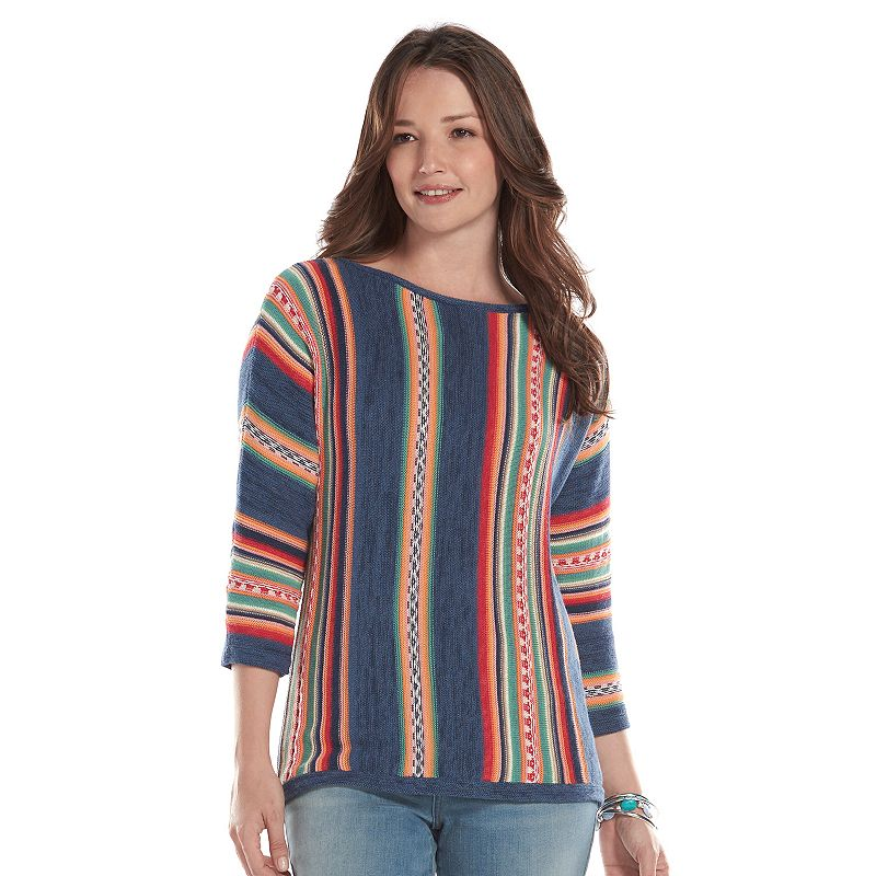 Women's Chaps Striped Knit Boatneck Sweater