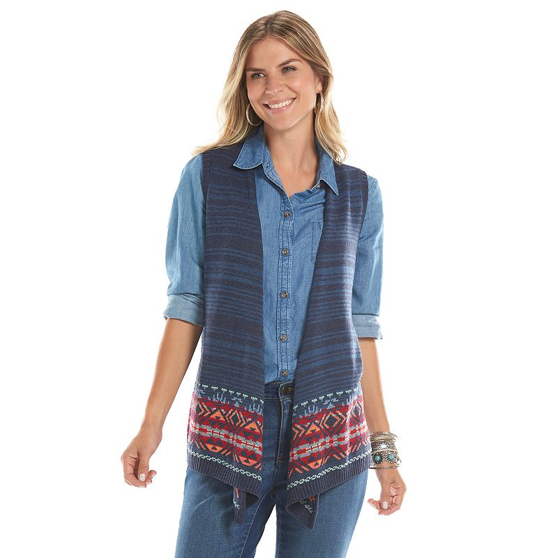 Women's Chaps Open-Front Sweater Vest