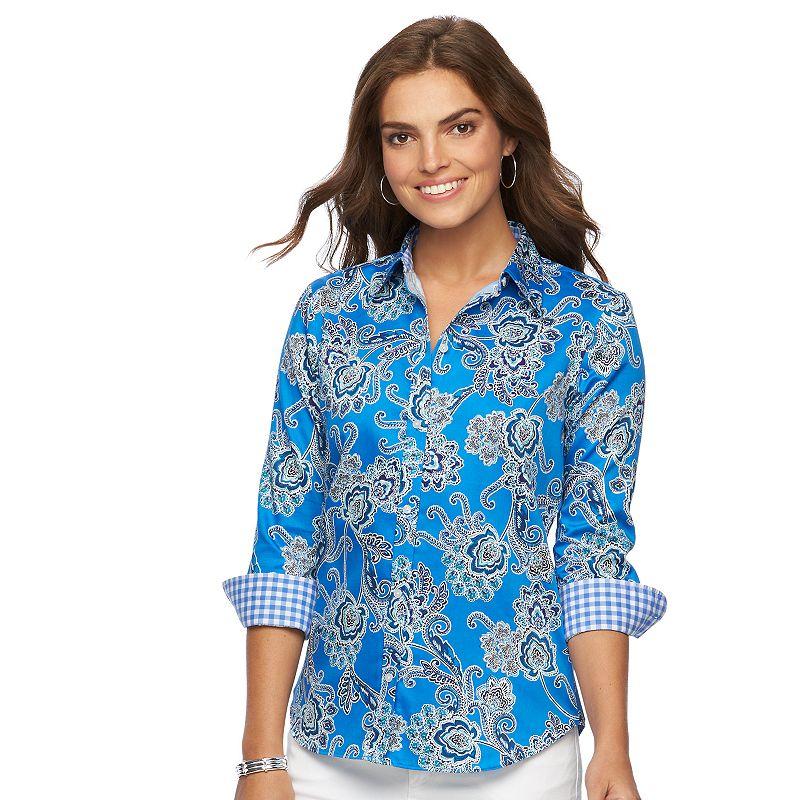 Chaps pink cotton shirt kohl 39 s for No iron cotton shirts