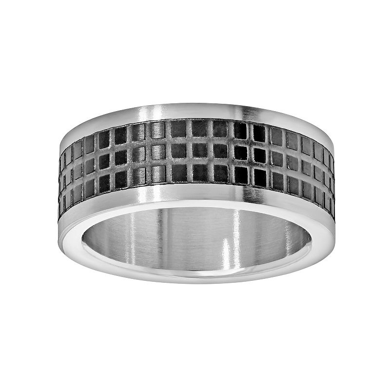 LYNX Stainless Steel Two Tone Grid Band - Men