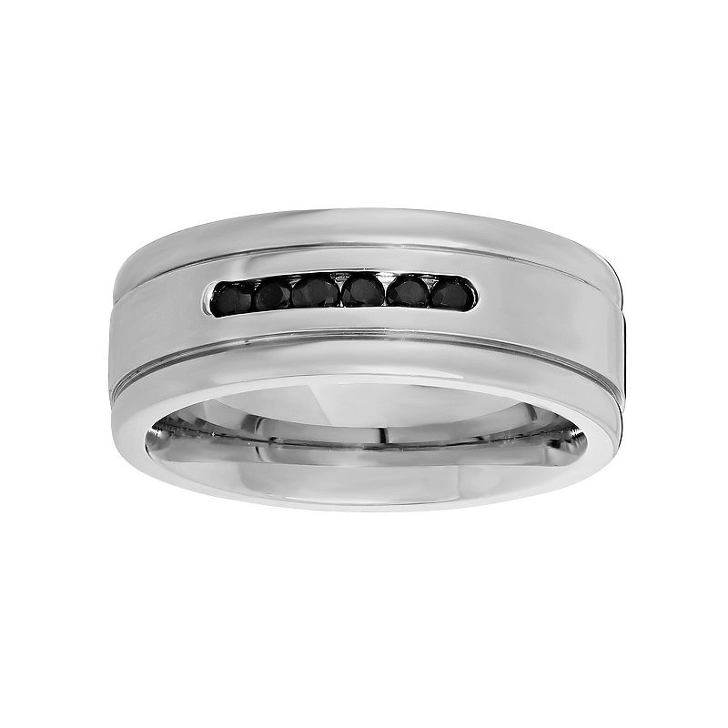 LYNX Cubic Zirconia Stainless Steel Band - Men