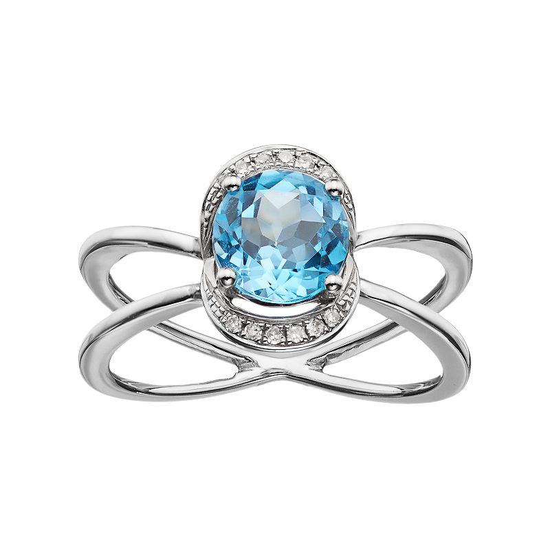 14k White Gold Swiss Blue Topaz & Diamond Accent Halo Ring