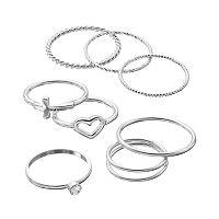 LC Lauren Conrad Heart, Sideways Cross & Twist Midi Ring Set