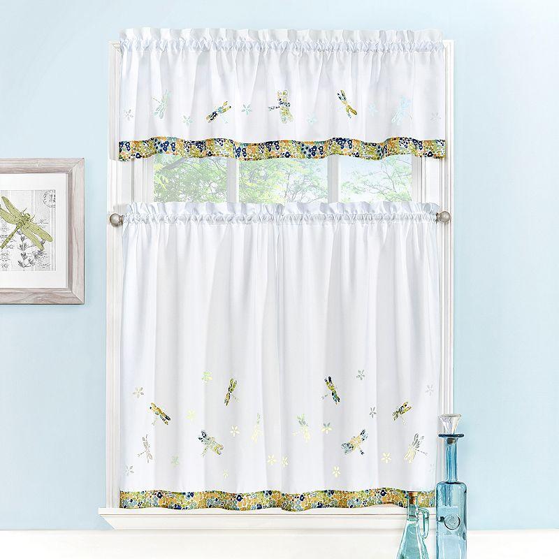 Kohl S Kitchen Curtains: EHS Dragonfly Applique 3-pc. Tier Kitchen Curtain Set