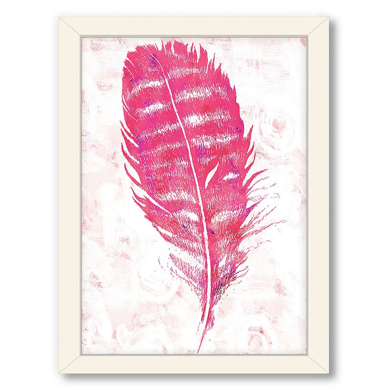 Americanflat urban road pink feather framed wall art for Pink wall art