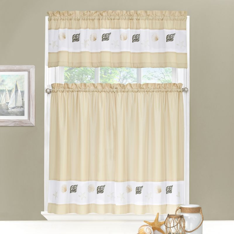 Ehs Coastal 3 Pc Tier Kitchen Curtain Set White