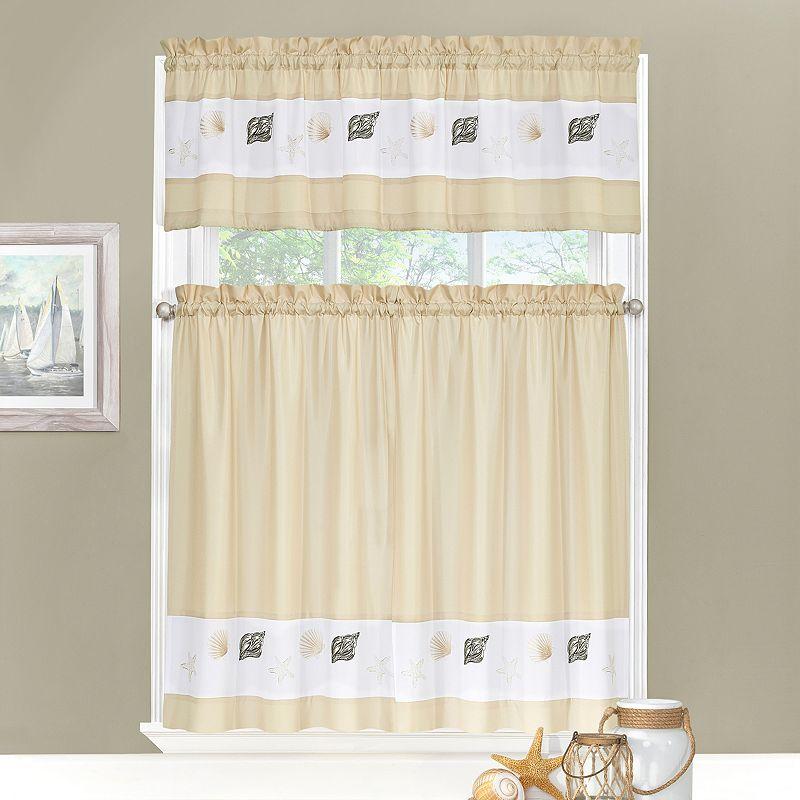 Ehs Coastal 3 Pc Tier Kitchen Curtain Set White