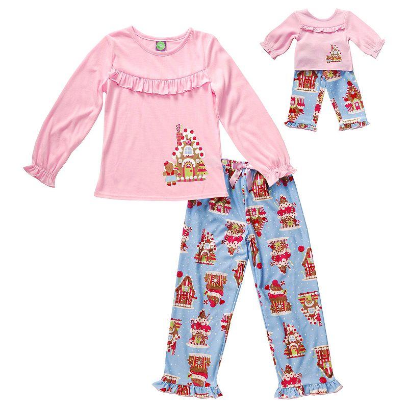 Dollie & Me Girls 4-14 Gingerbread House Pajama Set