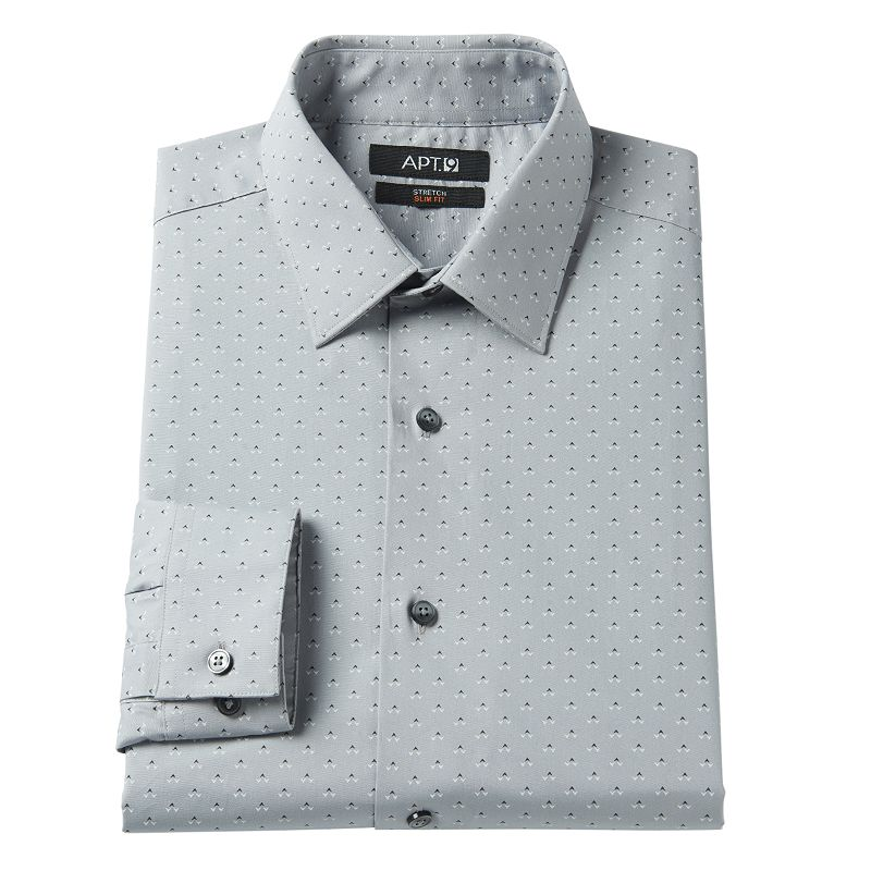 Men's Apt. 9® Slim-Fit Patterned Stretch Spread-Collar Dress Shirt