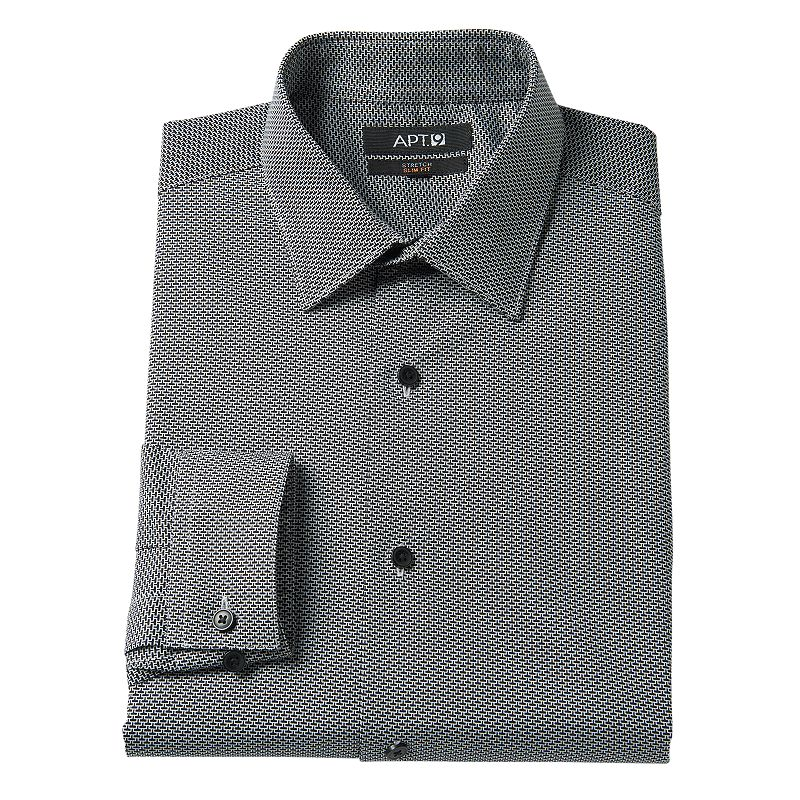Men's Apt. 9® Slim-Fit Geometric Stretch Spread-Collar Dress Shirt