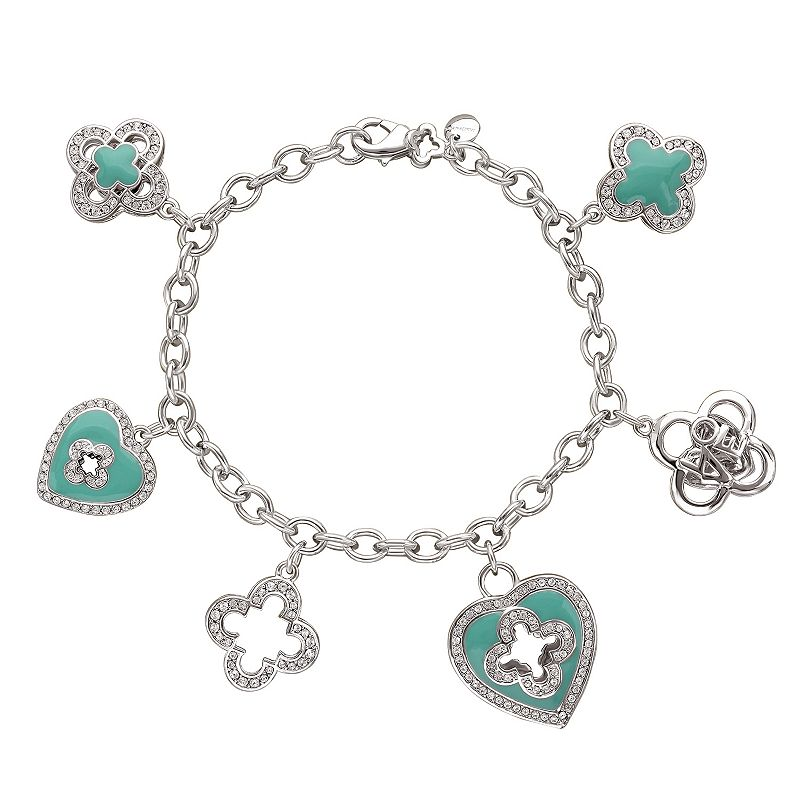 Marie Claire Jewelry Crystal Silver Tone Heart & Clover Charm Bracelet