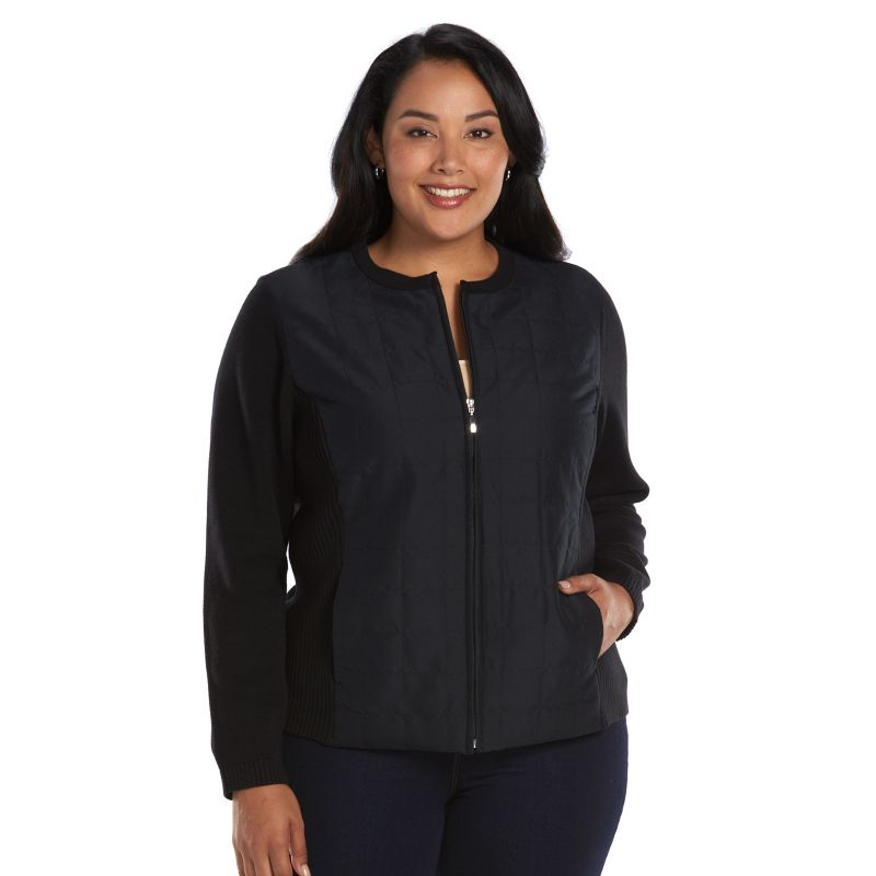 Plus Size Croft & Barrow Quilted Jacket, Women's, Size: 1X, Black