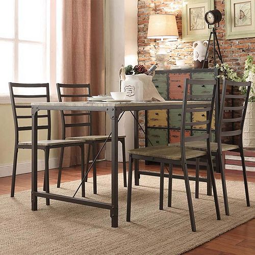 kitchen industrial dining room set dinette chairs table rustic ebay