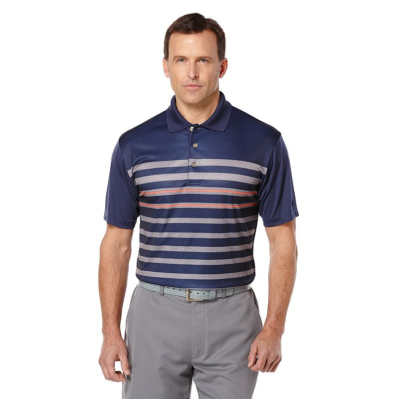Men's Grand Slam Classic-Fit Heather Striped Performance Golf Polo