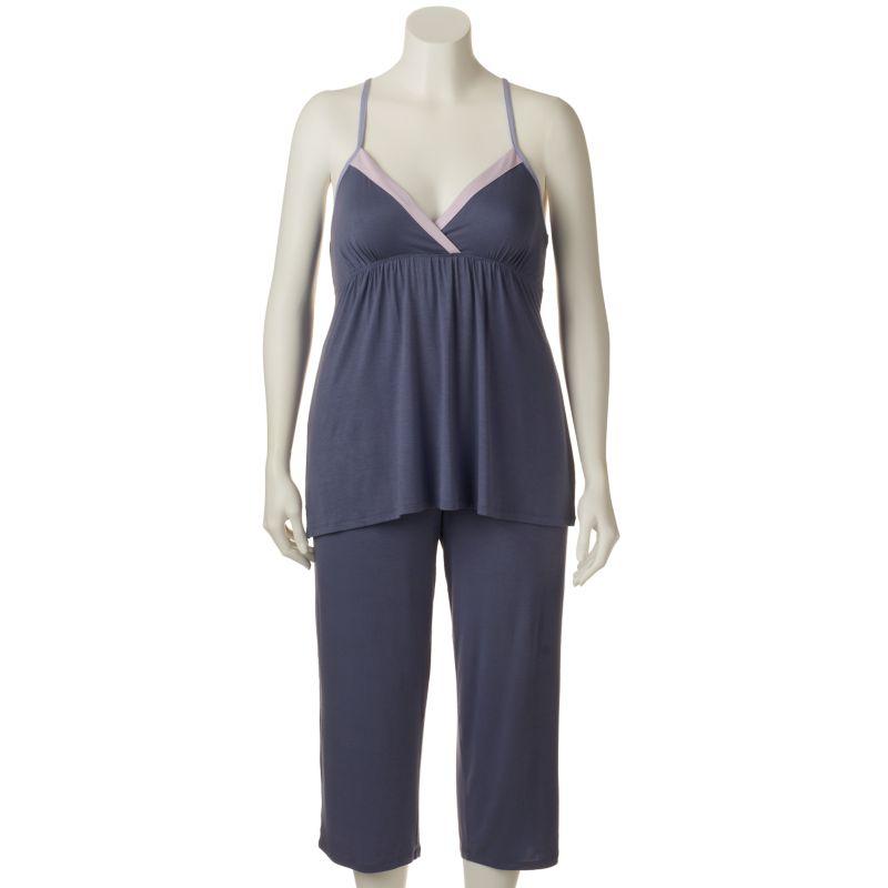 Plus Size Apt. 9 Pajamas: Night Skies Knit Capri Pajama Set, Women's, Size: 1X, Grey