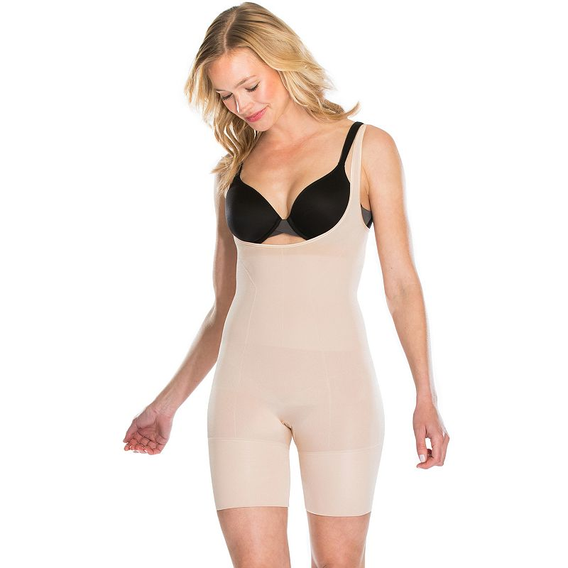 ASSETS Red Hot Label by Spanx Flat Out Flawless Open-Bust Mid-Thigh Body Briefer FS5415 - Women's