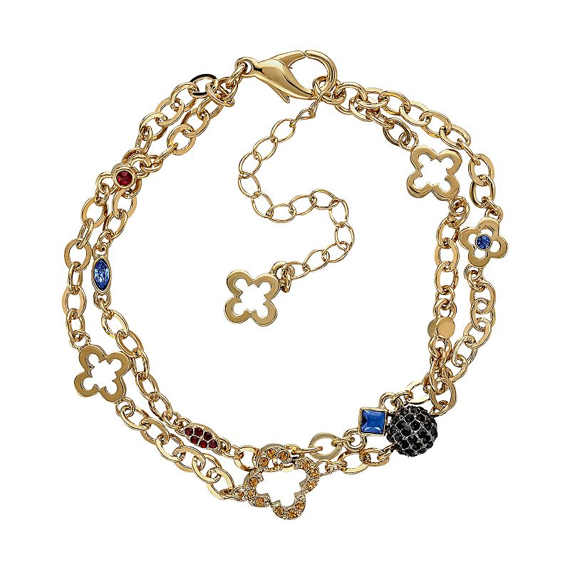Marie Claire Jewelry Crystal Gold Tone Clover Multistrand Bracelet