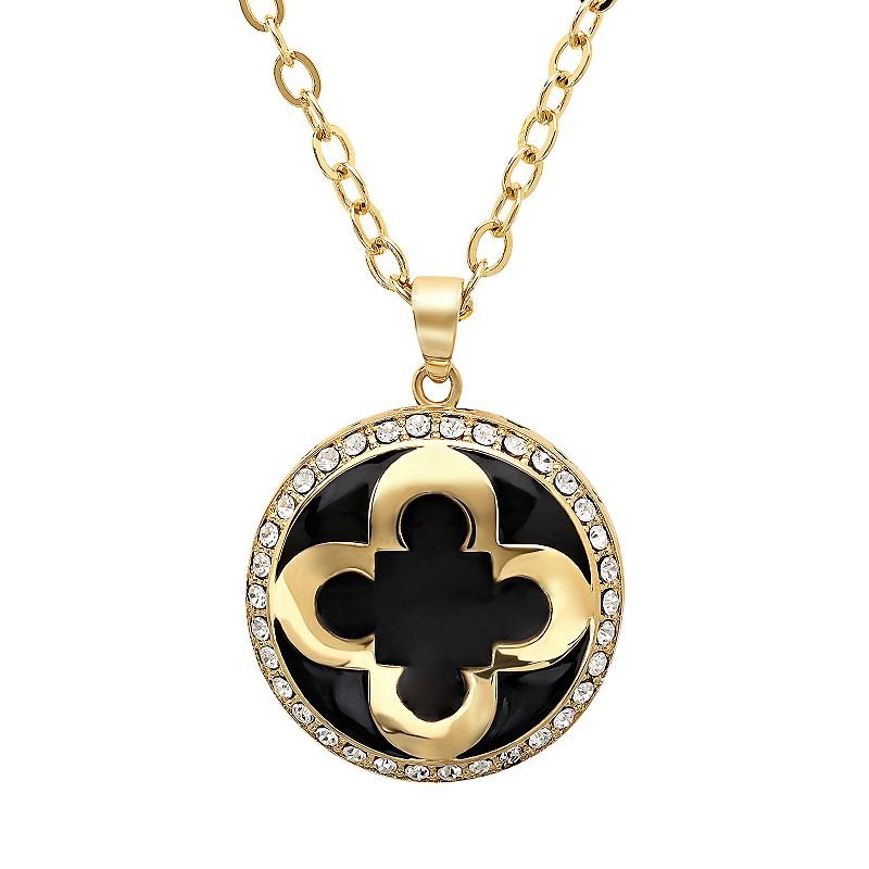 Marie Claire Jewelry Crystal Yellow Ion-Plated Stainless Steel Clover Pendant Necklace